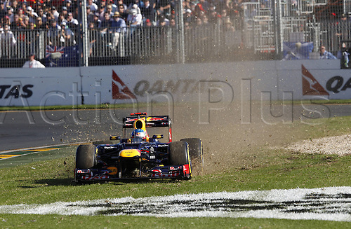 18.03.2012. Melbourne, Australia.   FIA Formula One World Championship 2012 Grand Prix of Australia 1 Sebastian Vettel ger Red Bull Racing goes off the track Jenson Button won the race with Sebbastian Vettel in second and Lewis Hamilton in third place.
