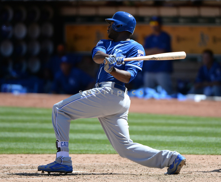 Kansas City Royals Lorenzo Cain (6) during a game against the Oakland A's on April 17, 2016 at Oakland Coliseum in Oakland, CA. The A's beat the Royals 3-2.