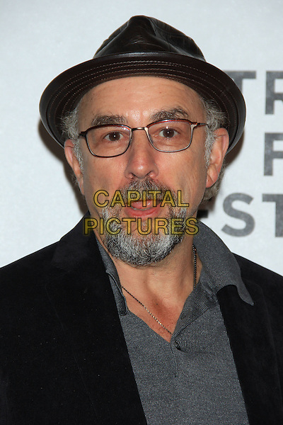 "Richard Schiff.The 2012 Tribeca Film Festival World Premiere of ""Knife Fight"" at the Tribeca Performing Arts Center, New York, NY, USA..April 25th, 2012 .headshot portrait black grey gray hat beard glasses top mouth open.CAP/LNC/TOM.©TOM/LNC/Capital Pictures."