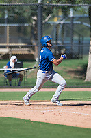 Los Angeles Dodgers first baseman Meaux Landry (33) follows through on his swing during an Instructional League game against the San Diego Padres at Camelback Ranch on September 25, 2018 in Glendale, Arizona. (Zachary Lucy/Four Seam Images)