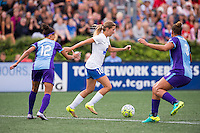 Allston, MA - Sunday July 31, 2016: Kristen Edmonds, Louise Schillgard, Toni Pressley during a regular season National Women's Soccer League (NWSL) match between the Boston Breakers and the Orlando Pride at Jordan Field.