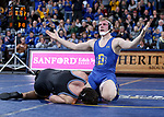 SIOUX FALLS, SD - NOVEMBER 15: Tanner Sloan from South Dakota State celebrates his fall over Nunzio Crowley from Binghamton during their 197 pound match Friday night at the Sanford Pentagon in Sioux Falls, SD. (Photo by Dave Eggen/Inertia)