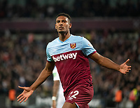 West Ham United Sebastien Haller celebrating during the Premier League match between West Ham United and Crystal Palace at the Olympic Park, London, England on 5 October 2019. Photo by Andrew Aleksiejczuk / PRiME Media Images.