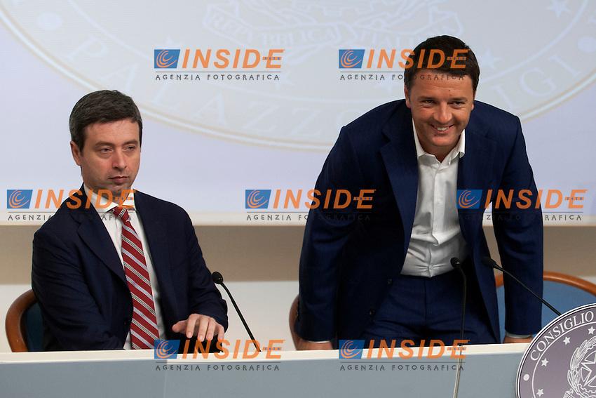Andrea Orlando e Matteo Renzi <br /> Roma 30-06-2014 Palazzo Chigi. conferenza stampa al termine del Consiglio dei Ministri.<br /> Press conference after the Minister's cabinet<br /> Photo Samantha Zucchi Insidefoto