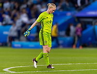 LE HAVRE,  - JUNE 20: Hedvig Lindahl #1 walks to her goal during a game between Sweden and USWNT at Stade Oceane on June 20, 2019 in Le Havre, France.