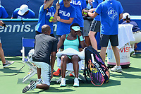 Washington, DC - August 1, 2017: Sloane Stephens of the USA appears frustrated with her play during a match with Simona Halep of Romania at the Citi Open held at the Rock Creek Tennis Center in Washington, D.C., August 1, 2017. Stephens lost the match against Halep. (Photo by Don Baxter/Media Images International)