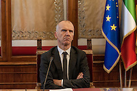 ROME, ITALY - FEBRUARY 24: Stefano Bina, general director Ama (Municipal Environment Company Rome), during  the presentation at the Capitol the memorandum of understanding on the promotion of separate collection of organic waste on February 24, 2017 in Rome,Italy. (Photo by Stefano Montesi/Corbis via Getty Images)