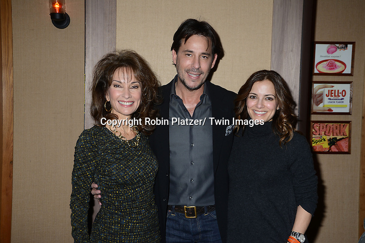 """Susan Lucci, Ricky Paull Goldin and Rebecca Budig attend the Ricky Paull Goldin premiere party and fundraiser for his new HGTV show """"Spontaneous Construction"""" which will air on February 15, 2013. The party was on February 10, 2013 at Guy's American Kitchen in New York City."""