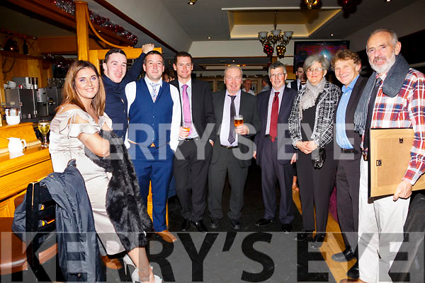 Pictured at the South and Mid Kerry Rowing Social in the Ring of Kerry Hotel on Saturday night were l-r; Tara O'Sullivan, Alan Smith, Kieran O'Sullivan, Gearóid O'Sullivan, James McGill, Mike Murphy, Noreen O'Shea, Mike O'Driscoll & Pádraig O'Shea.
