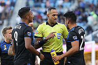 SAN JOSE, CA - SEPTEMBER 29: Danny Hoesen #9 and Andres Rios #25 of the San Jose Earthquakes during a Major League Soccer (MLS) match between the San Jose Earthquakes and the Seattle Sounders on September 29, 2019 at Avaya Stadium in San Jose, California.