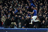 29th October 2019; Goodison Park, Liverpool, Merseyside, England; English Football League Cup, Carabao Cup Football, Everton versus Watford; Richarlison of Everton celebrates with fans in the Gwladys Street end after scoring  his team's second goal in the third minute of injury time - Strictly Editorial Use Only. No use with unauthorized audio, video, data, fixture lists, club/league logos or 'live' services. Online in-match use limited to 120 images, no video emulation. No use in betting, games or single club/league/player publications