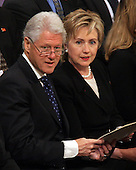 Former United States President Bill Clinton and former first lady U.S. Senator Hillary Rodham Clinton (Democrat of New York) attend the State Funeral for former United States President Gerald R. Ford at the Washington National Cathedral, in Washington, D.C. on Tuesday, January 2, 2007..Credit: Ron Sachs / CNP.[NOTE: No New York Metro or other Newspapers within a 75 mile radius of New York City].