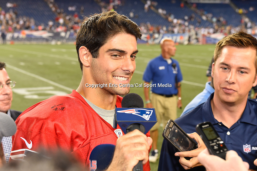 August 5, 2015: New England Patriots quarterback Jimmy Garoppolo (10) answers questions from the press during the New England Patriots training camp held on the the game field at Gillette Stadium in Foxborough Massachusetts. Eric Canha/CSM