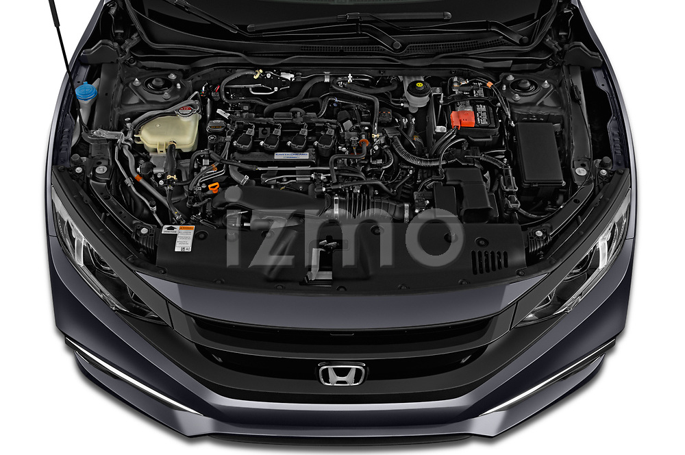Car Stock 2019 Honda Civic-Coupe EX 2 Door Coupe Engine  high angle detail view
