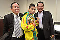 Suriyan Sor Rungvisai (THA),.MARCH 26, 2012 - Boxing :.Suriyan Sor Rungvisai (C) of Thailand poses with his promotor Surachart Pisitwuttinan (L) and manager Srisuk Rungvisai (R) during the official weigh-in for the WBC super flyweight title bout at Korakuen Hall in Tokyo, Japan. (Photo by Hiroaki Yamaguchi/AFLO)