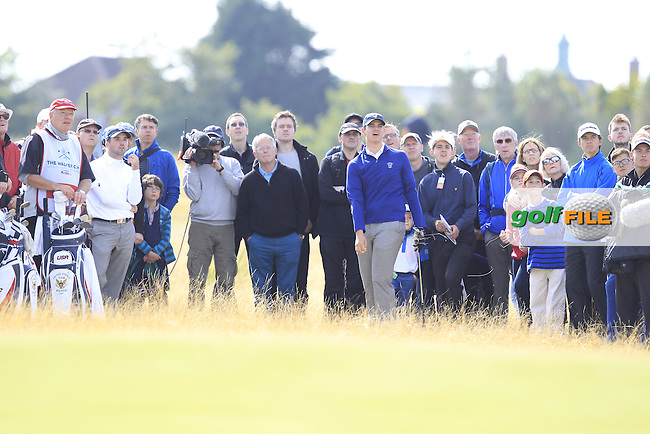 Beau Hossler (USA) during the sunday morning foursomes for the Walker Cup, Royal Lytham St Annes, Lytham St Annes, Lancashire, England. 13/09/2015<br /> Picture Golffile | Fran Caffrey<br /> <br /> <br /> All photo usage must carry mandatory copyright credit (&copy; Golffile | Fran Caffrey)