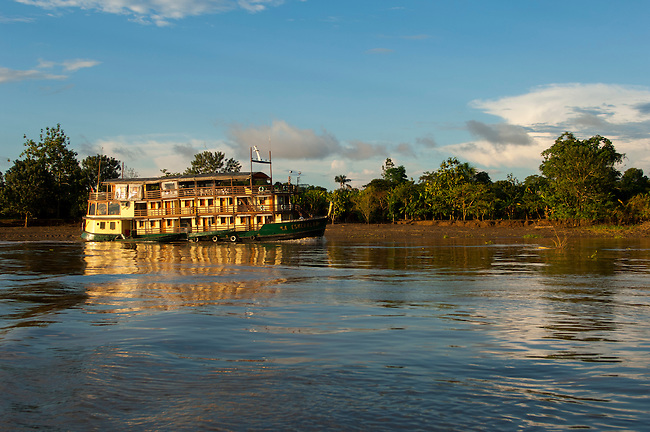 Cruise ship La Esmeralda on the Amazon River in the Peruvian Amazon River basin near Iquitos.