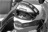 INDIANAPOLIS, IN - MAY 31: Al Unser, Jr. waits to drive his Lola T86/00 HU07/Cosworth during practice for the Indianapolis 500 USAC Indy Car race at the Indianapolis Motor Speedway in Indianapolis, Indiana, on May 31, 1986.