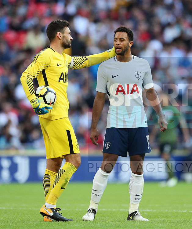 Tottenham's Hugo Lloris and Mousa Dembele during the pre season match at Wembley Stadium, London. Picture date 5th August 2017. Picture credit should read: David Klein/Sportimage