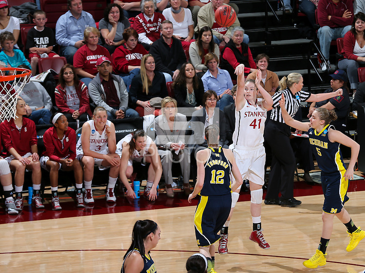 STANFORD, CA - March 26, 2013: Stanford Cardinal's Bonnie Samuelson in a second round game of the 2013 NCAA Division I Championship  versus Michigan at Maples Pavilion in Stanford, California.  The Cardinal defeated the Wolverines 73-40.