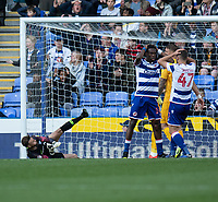 Reading Players (right)  shows their frustration as coming close to get a goal, saved by Preston North End's Declan Rudd \<br /> <br /> Photographer David Horton/CameraSport<br /> <br /> The EFL Sky Bet Championship - Reading v Preston North End - Saturday 19th October 2019 - Madejski Stadium - Reading<br /> <br /> World Copyright © 2019 CameraSport. All rights reserved. 43 Linden Ave. Countesthorpe. Leicester. England. LE8 5PG - Tel: +44 (0) 116 277 4147 - admin@camerasport.com - www.camerasport.com