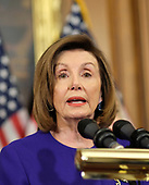 Speaker of the United States House of Representatives Nancy Pelosi (Democrat of California), speaks at a news conference laying out articles of impeachment for President Donald J. Trump, on Capitol Hill in Washington, DC on Tuesday, December 10, 2019. Credit: Alex Wroblewski / CNP