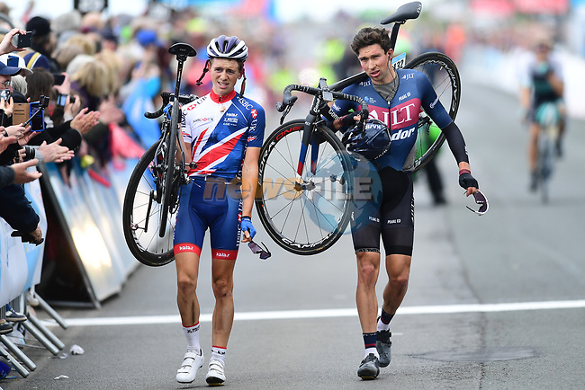 Ian Bibby (JLT) and James Knox (GBR) cross the finish line after a crash at the end of Stage 1 of the Tour de Yorkshire 2017 running 174km from Bridlington to Scarborough, England. 28th April 2017. <br /> Picture: ASO/A.Broadway | Cyclefile<br /> <br /> <br /> All photos usage must carry mandatory copyright credit (&copy; Cyclefile | ASO/A.Broadway)
