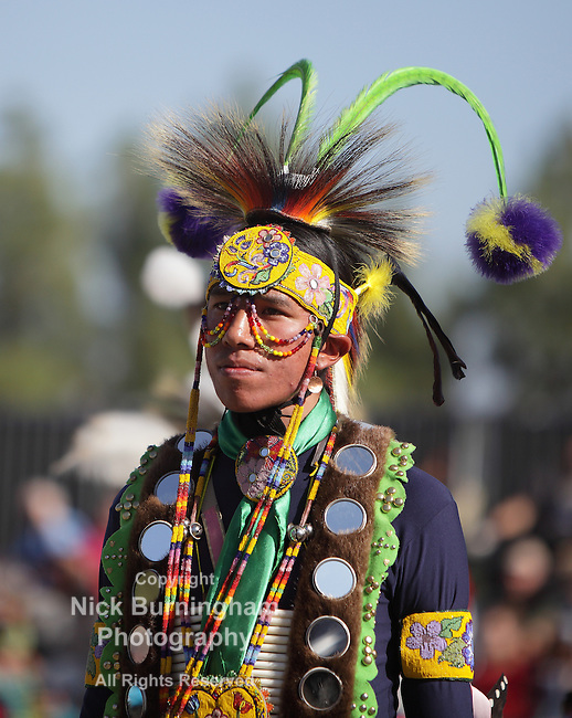 SAN BERNARDINO, CALIFORNIA - OCTOBER 13: The San Manuel Band of Indians hold their annual Pow Wow on October 13, 2012 in San Bernardino. Dances include the Grass, Chicken and Fancy dances.<br /> <br /> EDITORIAL USE ONLY