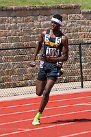 Cleveland NJROTC sophomore Joshua Garner runs a leg of the Class 2 4x400 at the Missouri Class 1 and 2 State Track and Field Championships in Jefferson City, Saturday, May 21. Cleveland NJROTC won the race in 3:24.55.