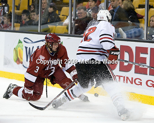 Alex Biega (Harvard - 3), Dennis McCauley (Northeastern - 12) - The Harvard University Crimson defeated the Northeastern University Huskies 3-1 on Monday, February 4, 2008, in the opening game of the 2008 Beanpot at TD Banknorth Garden in Boston, Massachusetts.