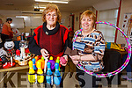 Bridget O'Connell and Maureen Williams displaying their crafts at their Name It Womens Club centre on Tuesday.