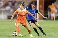 Houston, TX - Sunday August 13, 2017:  Sarah Hagen and Yael Averbuch during a regular season National Women's Soccer League (NWSL) match between the Houston Dash and FC Kansas City at BBVA Compass Stadium.
