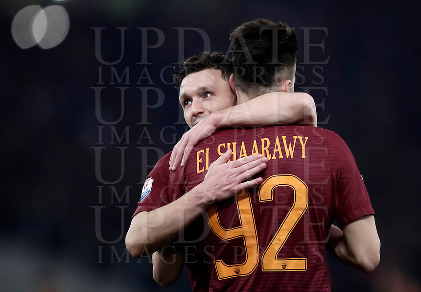 Calcio, ottavi di finale di Tim Cup: Roma vs Sampdoria. Roma, stadio Olimpico, 19 gennaio 2017.<br /> Roma's Stephan El Shaarawy, right, celebrates with teammate Mario Rui after scoring during the Italian Cup round of 16 football match between Roma and Sampdoria at Rome's Olympic stadium, 19 January 2017.<br /> UPDATE IMAGES PRESS/Isabella Bonotto