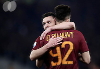 Calcio, ottavi di finale di Tim Cup: Roma vs Sampdoria. Roma, stadio Olimpico, 19 gennaio 2017.<br /> Roma&rsquo;s Stephan El Shaarawy, right, celebrates with teammate Mario Rui after scoring during the Italian Cup round of 16 football match between Roma and Sampdoria at Rome's Olympic stadium, 19 January 2017.<br /> UPDATE IMAGES PRESS/Isabella Bonotto