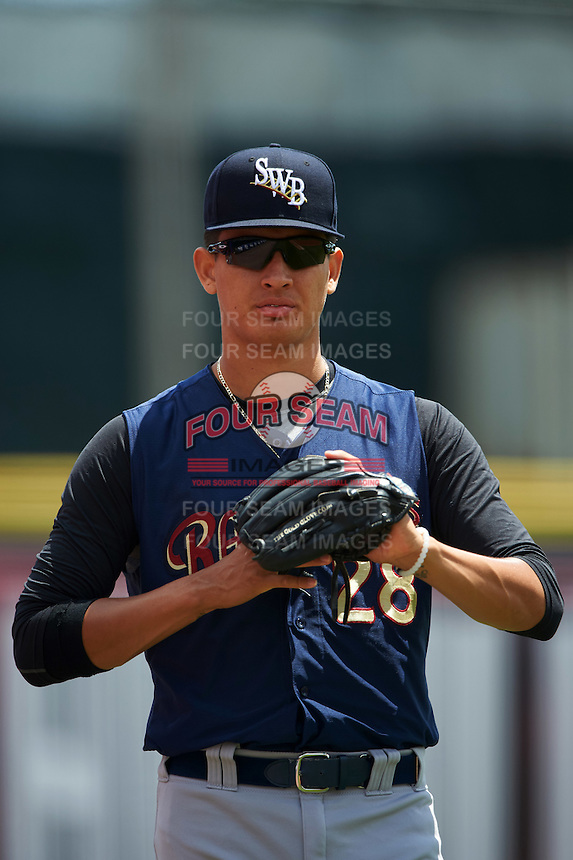 Scranton/Wilkes-Barre RailRiders pitcher Giovanny Gallegos (28) in the bullpen during a game against the Buffalo Bisons on July 2, 2016 at Coca-Cola Field in Buffalo, New York.  Scranton defeated Buffalo 5-1.  (Mike Janes/Four Seam Images)