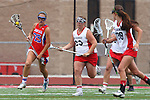 Redondo Beach, CA 05/14/11 - Hailey Fessenden (Los Alamitos #25), Brittany Ross (Redondo Union #29) and unidentified Redondo Union playerin action during the 2011 US Lacrosse / CIF Southern Section Division 1 Girls Varsity Lacrosse Championship, Los Alamitos defeated Redondo Union 17-5.