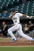 Center fielder Edgardo Fermin (10) of the Columbia Fireflies bats during a game against the Charleston RiverDogs on Tuesday, August 28, 2018, at Spirit Communications Park in Columbia, South Carolina. Columbia won, 11-2. (Tom Priddy/Four Seam Images)