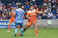 Bridgeview, IL - Saturday July 23, 2016:  Houston Dash midfielder Amber Brooks (12) and Chicago Red Stars midfielder Taylor Comeau (7) during a regular season National Women's Soccer League (NWSL) match between the Chicago Red Stars and the Houston Dash at Toyota Park.