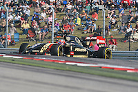 Romain Grosjean of Lotus F1 Team driving (8) E22 during 2014 Formula 1 United States Grand Prix race, Sunday, November 02, 2014 in Austin, Tex. (Mo Khursheed/TFV Media via AP Images)