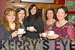 Enjoying the coffee morning in aid of Gaelscoil Faithlean in O'Riains Bar on Thursday morning were Geraldine Courtney, Maire Breathnach, Ciara Brosnan, Angela O'Connor and Nora Ui Ghealbhain.....   Copyright Kerry's Eye 2008
