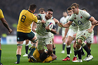 Nathan Hughes of England fends Sean McMahon of Australia. Old Mutual Wealth Series International match between England and Australia on November 18, 2017 at Twickenham Stadium in London, England. Photo by: Patrick Khachfe / Onside Images