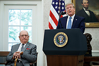 Donald J. Trump awards the Presidential Medal of Freedom to NBA Boston Celtics legend Robert Cousy