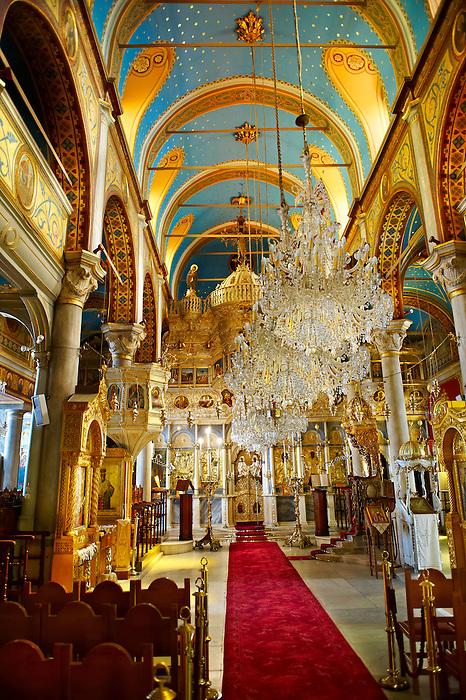The unusual Baroque interior of the Greek Orthodox Metropolitan Cathedral of the Metamorphosis,  Ermoupolis, Syros Island [ ????? ] , Greek Cyclades Islands