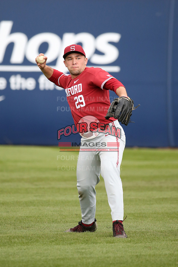 Brandon Wulff #29 of the Stanford Cardinal during a game against the Cal State Fullerton Titans at Goodwin Field on February 19, 2017 in Fullerton, California. Stanford defeated Cal State Fullerton, 8-7. (Larry Goren/Four Seam Images)