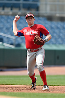 Travis Blankenhorn (3) of Pottsville Area High School in Pottsville, Pennsylvania playing for the Philadelphia Phillies scout team during the East Coast Pro Showcase on August 2, 2014 at NBT Bank Stadium in Syracuse, New York.  (Mike Janes/Four Seam Images)