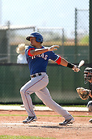 Jorge Alfaro of the Texas Rangers plays in a minor league spring training game against the San Diego Padres at the Rangers complex on March 26, 2011  in Surprise, Arizona. .Photo by:  Bill Mitchell/Four Seam Images.