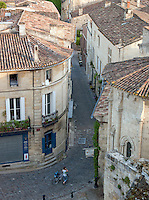 Narrow streets of the historical town of Saint Emilion, France