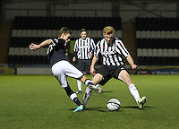 Connor McLeod (11) beating Conor Newton in the St Mirren v Dundee Clydesdale Bank Scottish Premier League Under 20 match played at St Mirren Park, Paisley on 14.1.13.