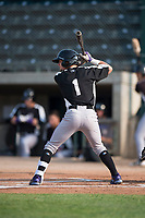 Grand Junction Rockies second baseman Hunter Stovall (1) at bat during a Pioneer League game against the Missoula Osprey at Ogren Park Allegiance Field on August 21, 2018 in Missoula, Montana. The Missoula Osprey defeated the Grand Junction Rockies by a score of 2-1. (Zachary Lucy/Four Seam Images)