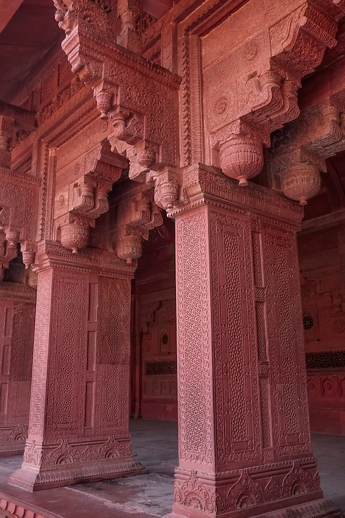 Richly decorated audience halls, pavilions, courtyards are all surrounded by massive walls inside the Agra Fort- a UNESCO site.